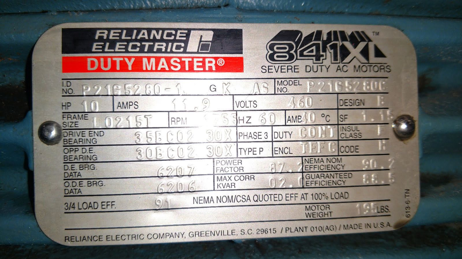 Lot 52 - (1) *USED* Reliance Electric L0215T Severe Duty Motor 10HP 1755RPM 3PH *USED*