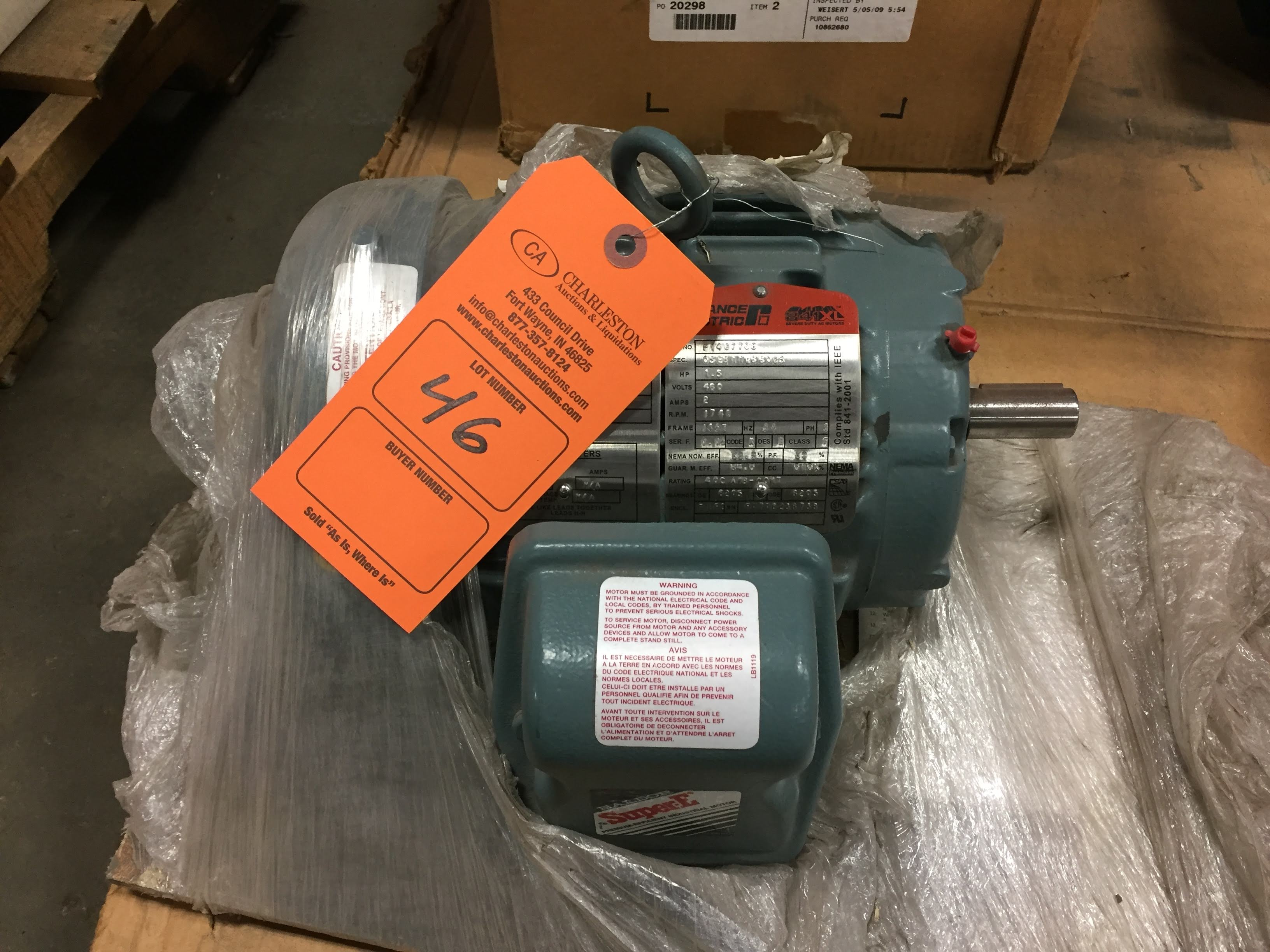 Lot 46 - (1) *NEW* Reliance Electric P14G7708 Severe Duty Motor 1.5HP 1740RPM 2AMP 460V *NEW*