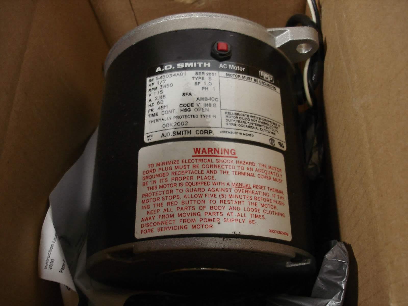 Lot 1 - (1) *NEW* AO SMITH OBK2002 OIL BURNER MOTOR HP1/7 VOLTS115 RPM3450 *NEW*; (1) *NIB* CENTURY BL6407
