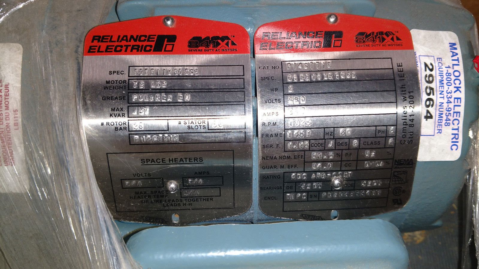 Lot 47 - (1) *NEW* Reliance Electric P14G7710 Severe Duty Motor 2HP 1725RPM 2.7AMP 460V *NEW*