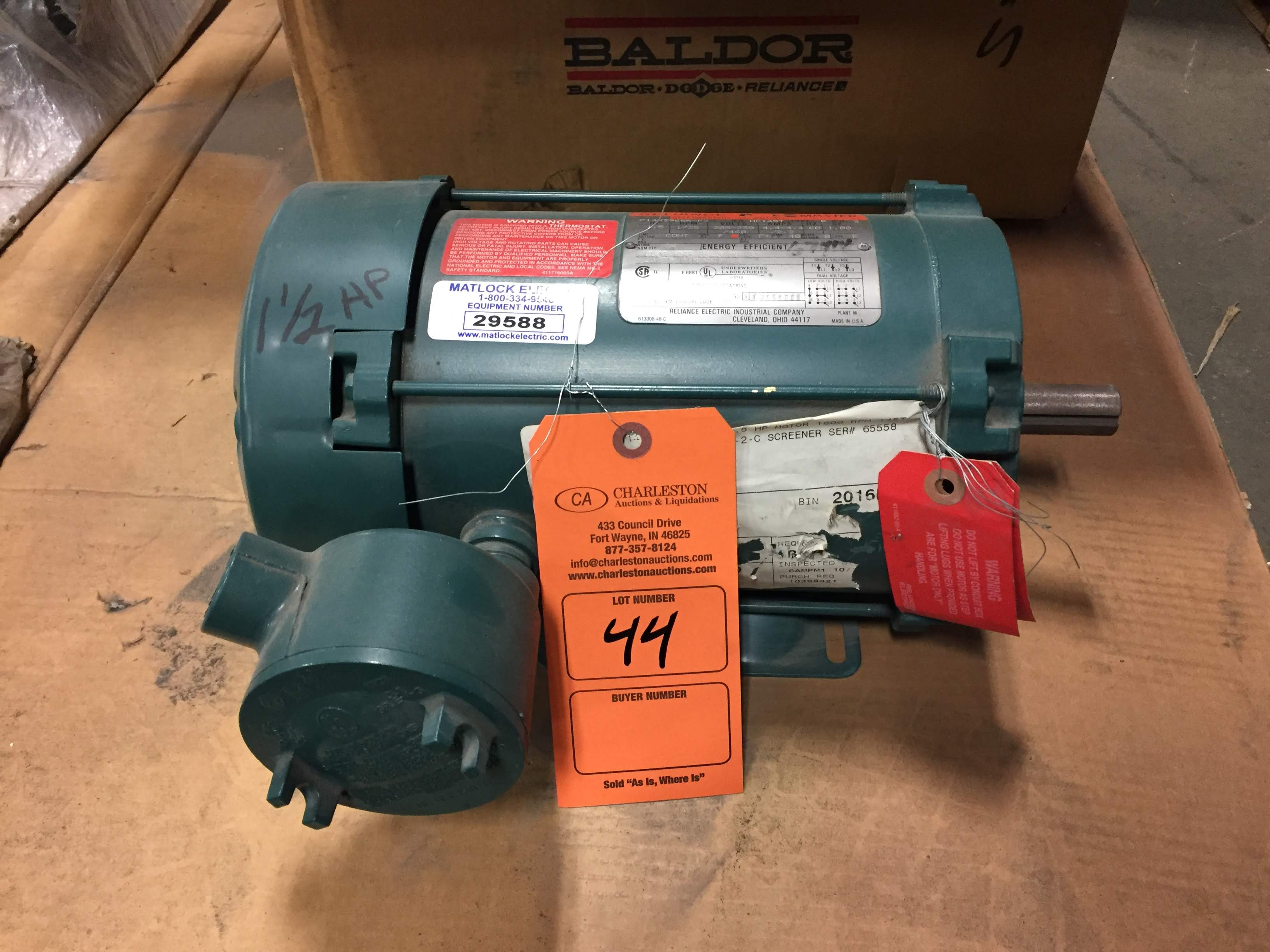 Lot 44 - (1) *NEW* Reliance E-Master 1.5HP 1725RPM 3PH AC Motor P14X3968R-FJ *NEW*