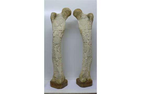 Two Carved African Elephant Leg Bones