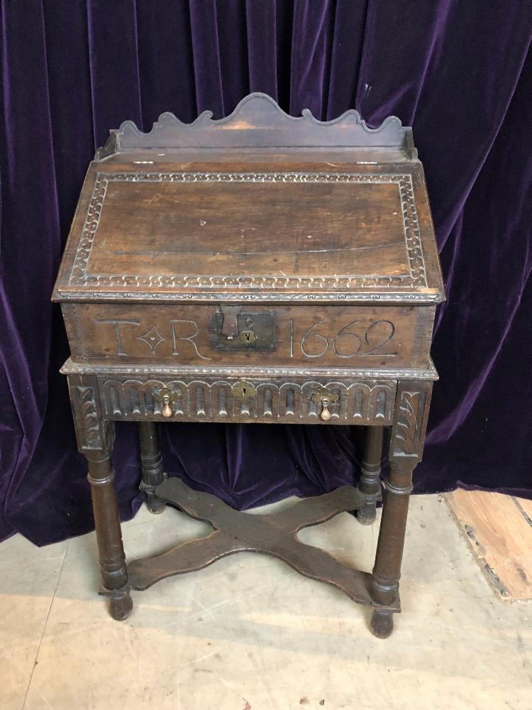 Lot 2 - 19th Cent oak writing slope