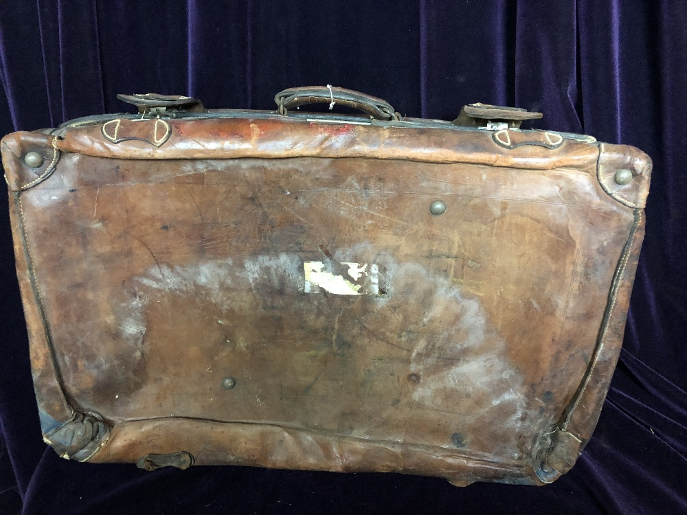 Lot 54 - Small leather trunk
