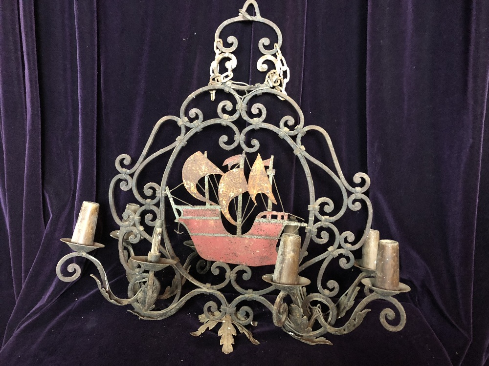 Lot 45 - Wrought Iron Chandelier