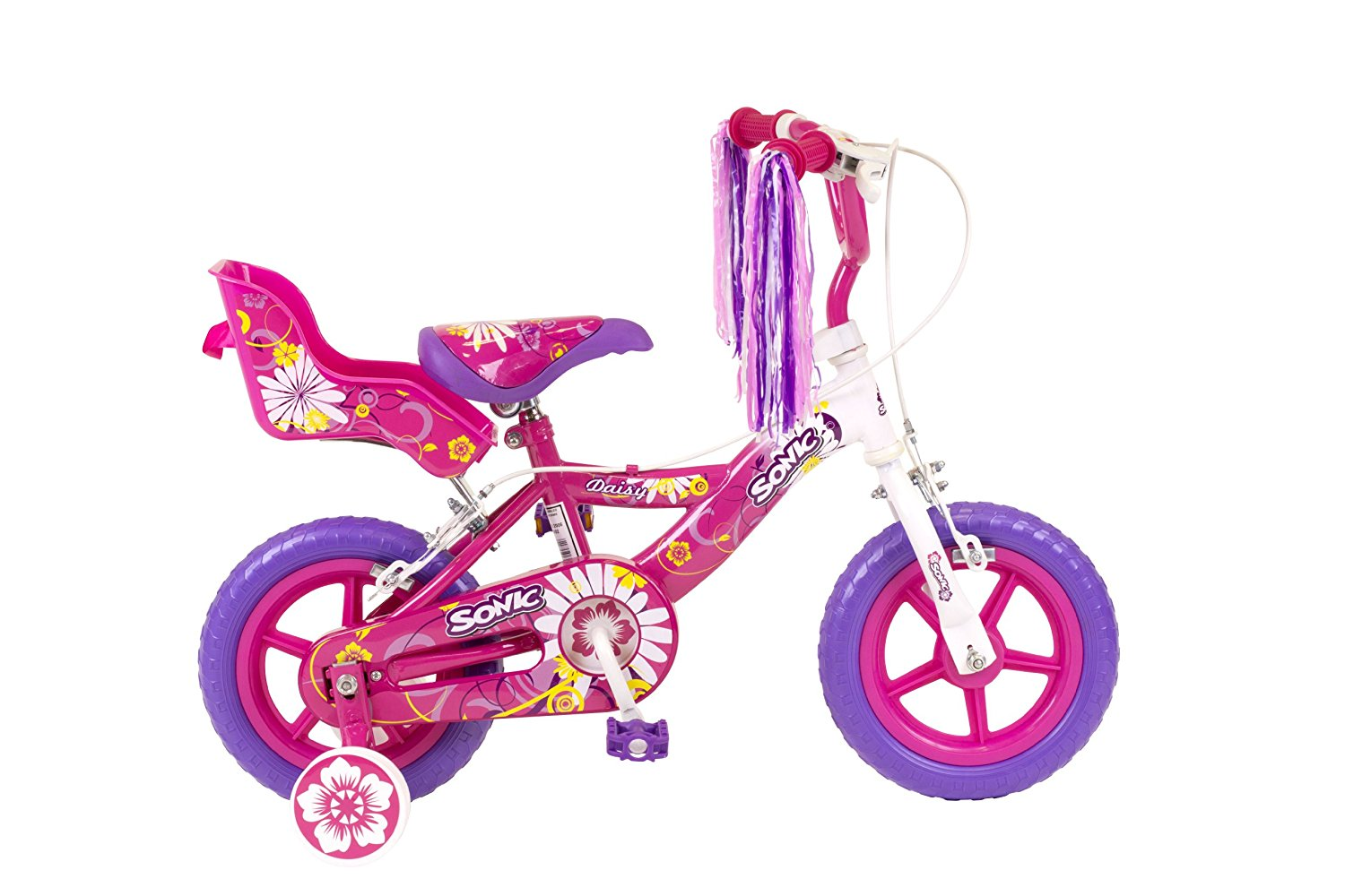 Lot 60 - Sonic Daisy Girls 12 Inch Bike, White/Pink RRP £89.99