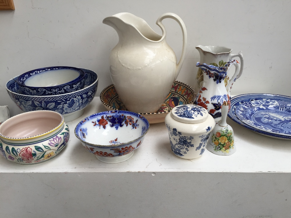 Lot 19 - A selection of china including a Regency pearlware blue and white bowl, a Wedgwood cream water jug,