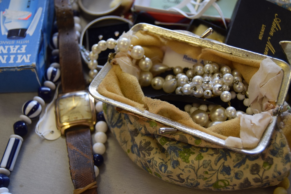 Lot 1A - A mixed lot of costume jewellery and other items including watches, necklaces, earrings, brooches,