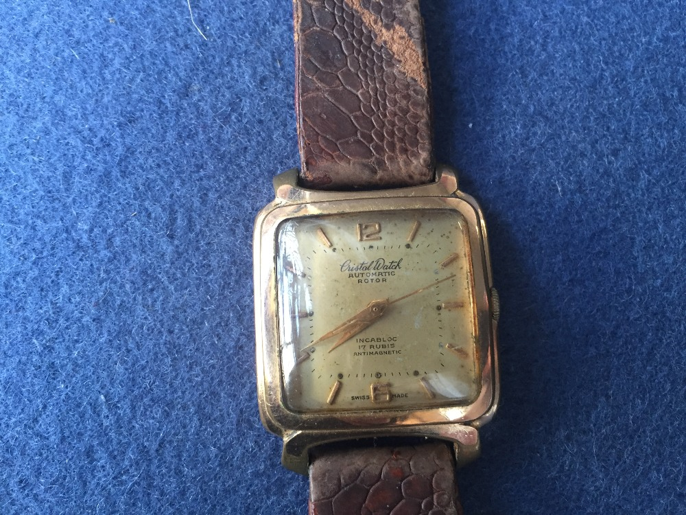 Lot 1B - A vintage Cristal Watch gold plated gentleman's wrist watch, Swiss made,