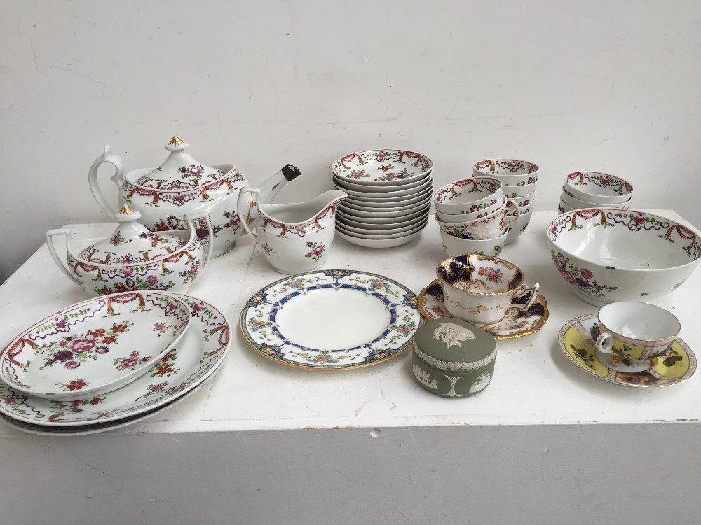 Lot 18 - A quantity of decorative teawares including a floral part tea set on cream ground, Royal Worcester,