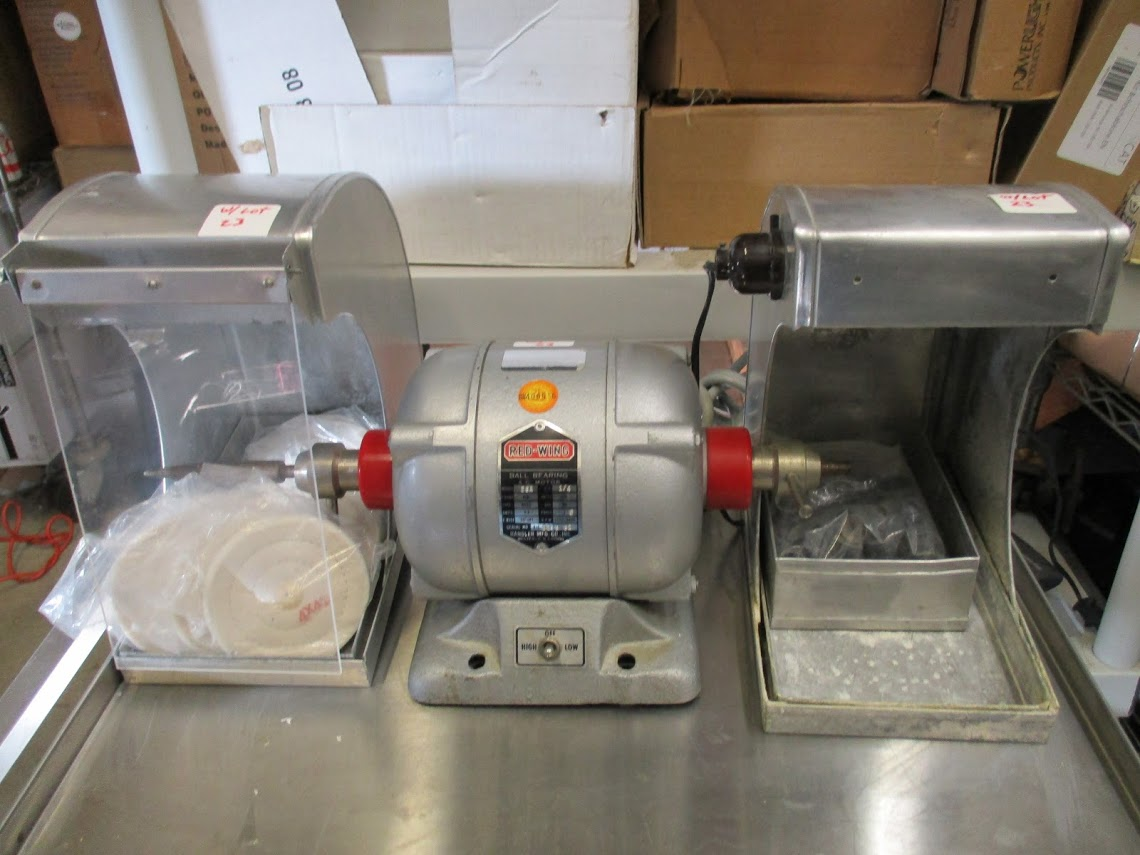 Red Wing Model 26A Dental lathe/grinder with 2 hoods and accessories. 115V 1/4 HP