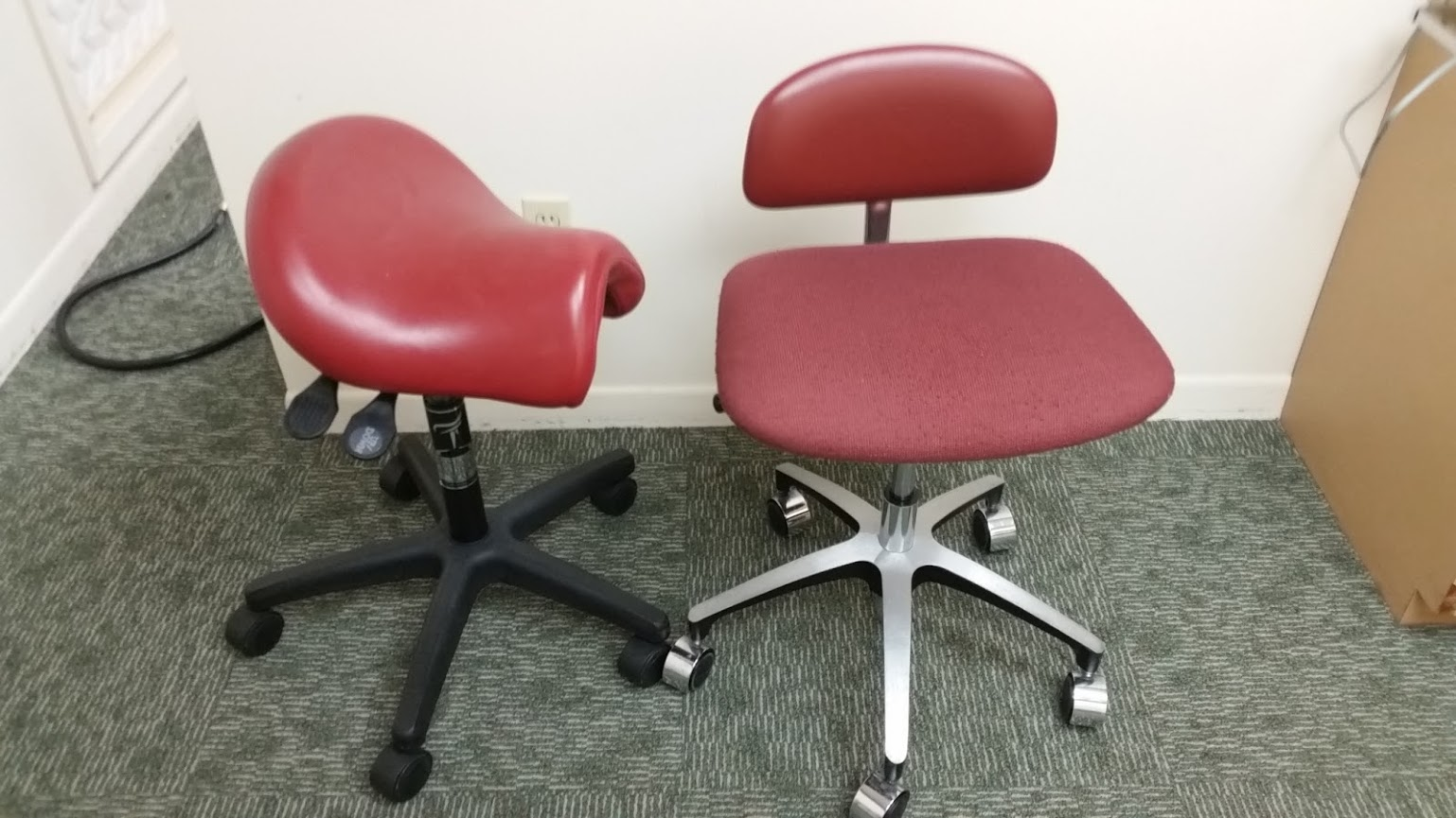 Lot 53 - Lot consisting of 2 dental assistant chairs on casters.