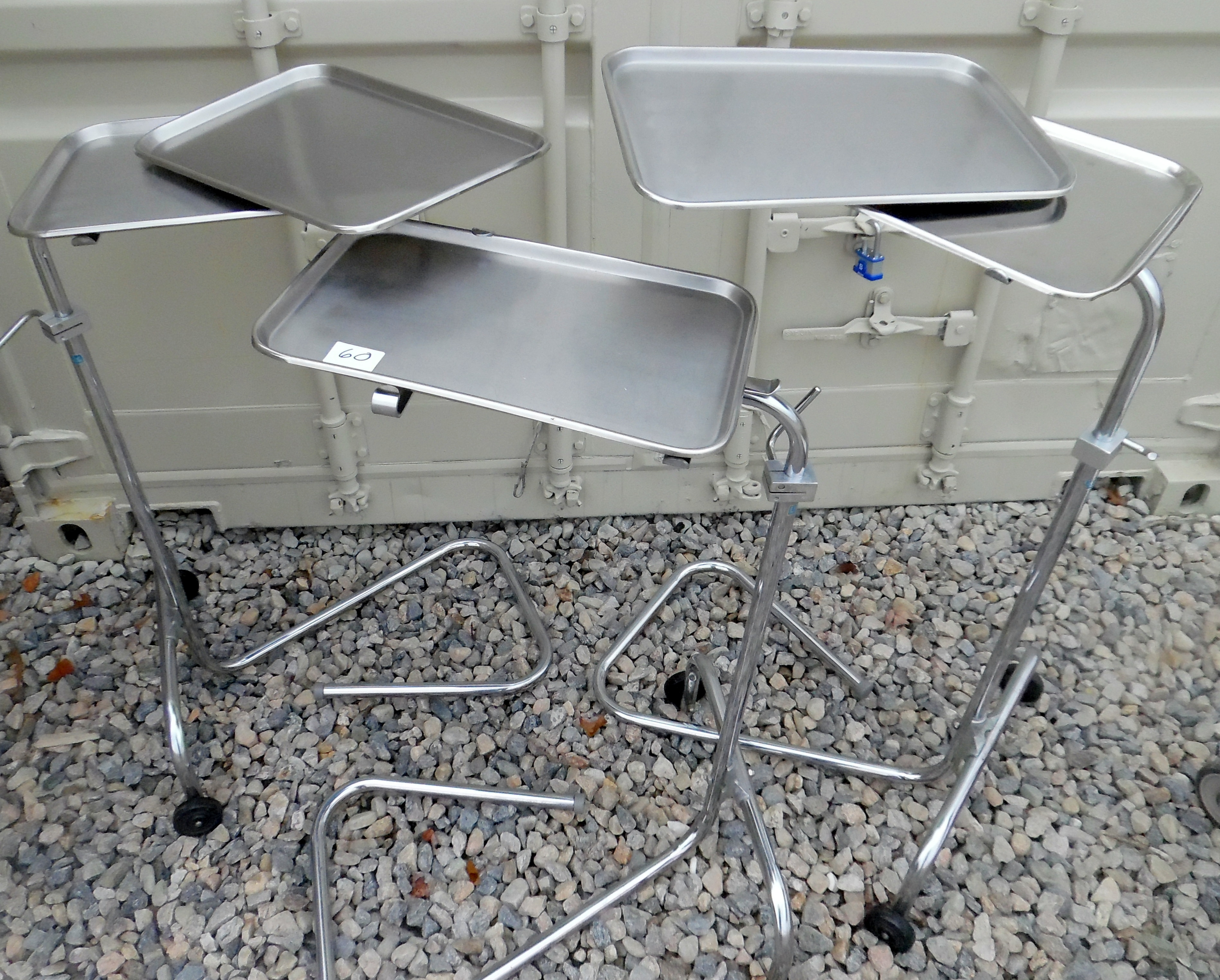 Lot 60 - Lot of 3 Medical Stands with (5) trays.