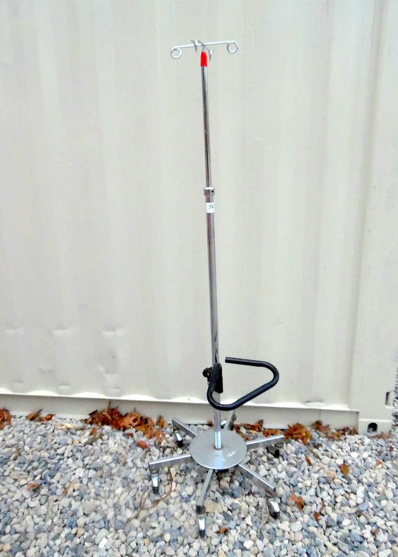 Lot 56 - Wheeled IV pole.