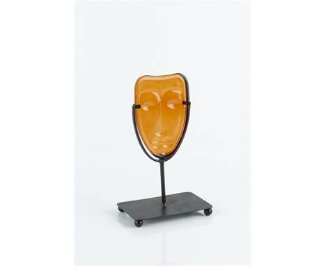 Erik Höglund for Kosta Boda Mask orange glass 12cm high.