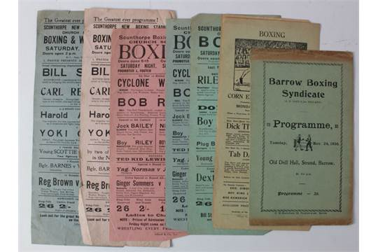 Boxing Programmes for regional halls circa  1930's at Scunthorpe