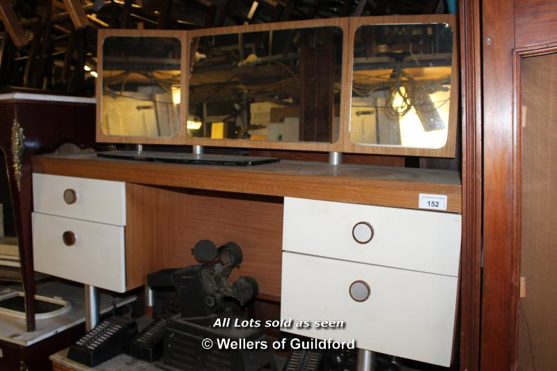 Lot 152 - CIRCA 1960S SIMPLE MIRRORED DRESSING TABLE WITH FOUR DRAWERS, 1500 X 445 X 1050 (MATCHES LOT 187)