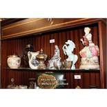 SHELF OF MIXED DECORATIVE ITEMS INCLUDING SILVER PLATE AND PORCELAIN WARES