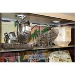 SHELF OF MIXED DECORATIVE ITEMS INCLUDING SILVER PLATE