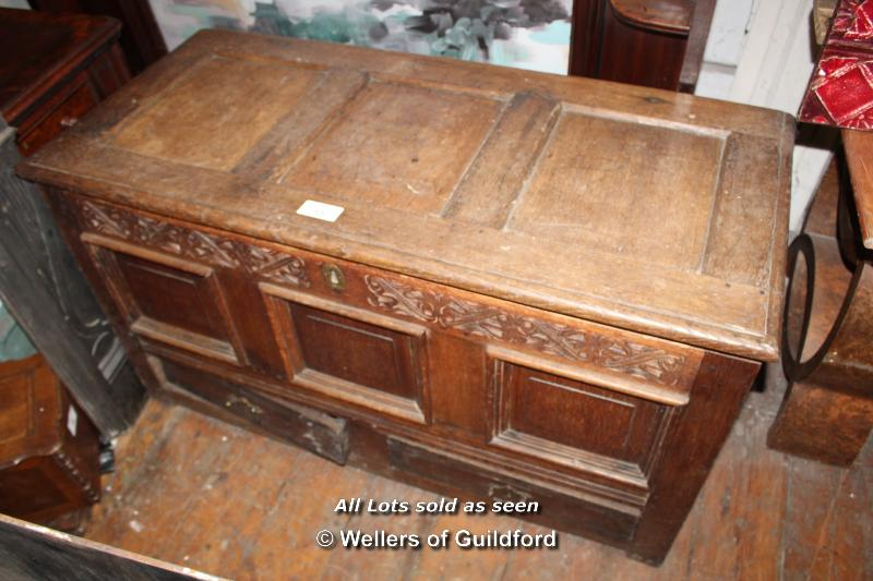 Lot 55 - OAK TRUNK WITH CARVED DETAIL AND TWO BOTTOM DRAWERS