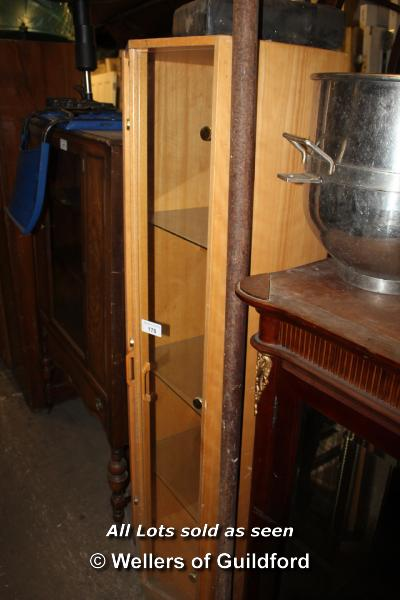 Lot 178 - PINE TRIANGULAR FRONTED DISPLAY CABINET, TWO GLASS DOORS AND THREE GLASS SHELVES, 460 X 470 X 1750