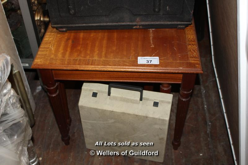 Lot 37 - NEST OF THREE WOODEN TABLES, THE LARGEST 560 X 520