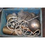 CRATE OF LIGHTING ACCESSORIES INCLUDING GLASS, ETC.