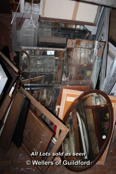 Lot 31 - COLLECTION OF APPROX TEN MIXED MIRRORS AND GLASS SECTIONS
