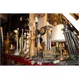 SHELF TOP CONTAINING APPROX TWENTY EIGHT MIXED TABLE/DESK LAMPS INCLUDING MATCHING BRASS DESIGN