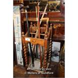 OAK UMBRELLA STAND COMPLETE WITH VARIOUS WALKING STICKS