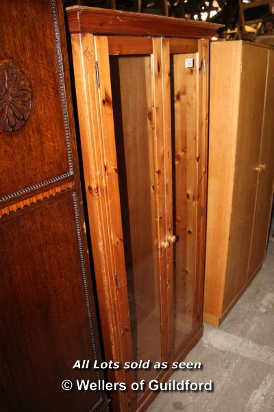 Lot 175 - PINE GLAZED DOUBLE CUPBOARD WITHOUT SHELVES, 910 X 400 X 1800