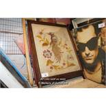 COLLECTION OF APPROX SIX MIXED FRAMES, PRINTS, PICTURES AND PAINTINGS INCLUDING A GLAZED EMBROIDERY