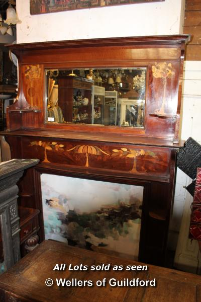 Lot 52 - SUBTANTIAL MAHOGANY FIRE SURROUND AND OVERMANTEL WITH INLAID FORESTRY DETAIL, 1690 X 300 X 2290