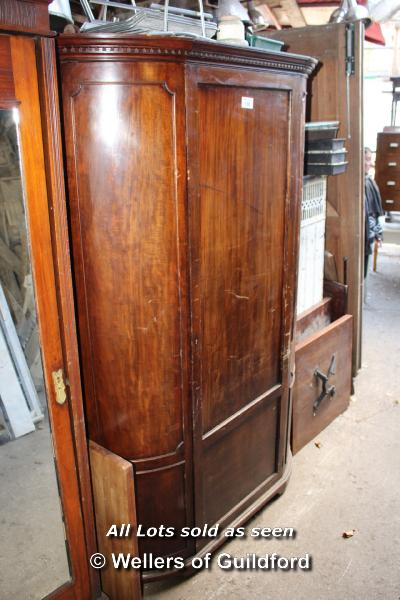 Lot 150 - MAHOGANY BOW FRONTED SINGLE WARDROBE, 1200 X 520 X 1940