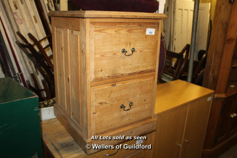 Lot 168 - SIMPLE PINE TWO DRAWER BEDSIDE TABLE WITH LEATHER TOP INSERT, 520 X 590 X 760