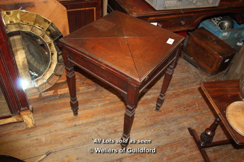 Lot 78 - SMALL OAK GAMES TABLE WITH FOUR FOLD OUT FLAPS, 560 X 560 X 710
