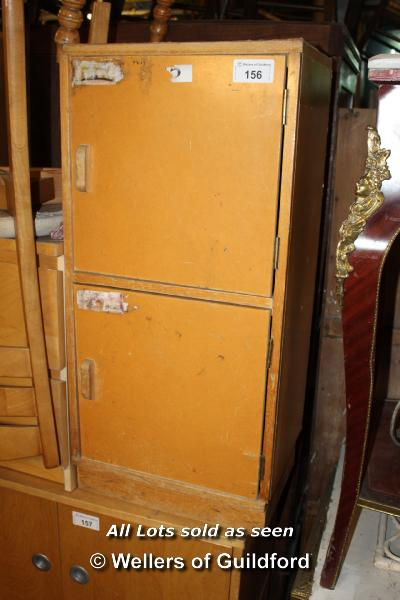 Lot 156 - RETRO DOUBLE DOOR PIGEON HOLE CUPBOARD TOGETHER WITH A SIMPLE PINE BEDSIDE TABLE