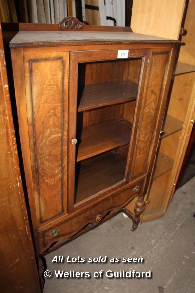 Lot 177 - FRENCH STYLE OAK GLAZED DISPLAY CABINET WITH ONE DRAWER, 950 X 480 X 1525