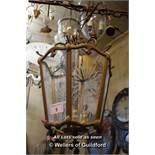 BRASS SIX SIDED TRIPLE LIGHT LANTERN WITH THREE ETCHED GLASS PANELS