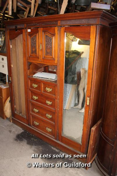 Lot 151 - LARGE WOODEN DOUBLE WARDROBE COMPLETE WITH CENTRAL CUPBOARD WITH CARVED DOORS, MIRROR AND TWO OVER
