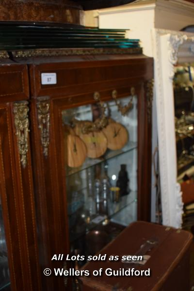 Lot 87 - MAHOGANY VENEERED GLAZED DISPLAY CABINET COMPRISING THREE GLASS SHELVES AND A HIDDEN BOTTOM