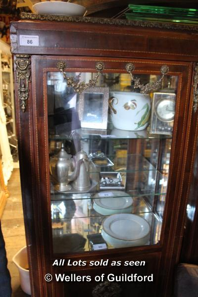 Lot 86 - MAHOGANY VENEERED GLAZED DISPLAY CABINET COMPRISING THREE GLASS SHELVES AND A HIDDEN BOTTOM
