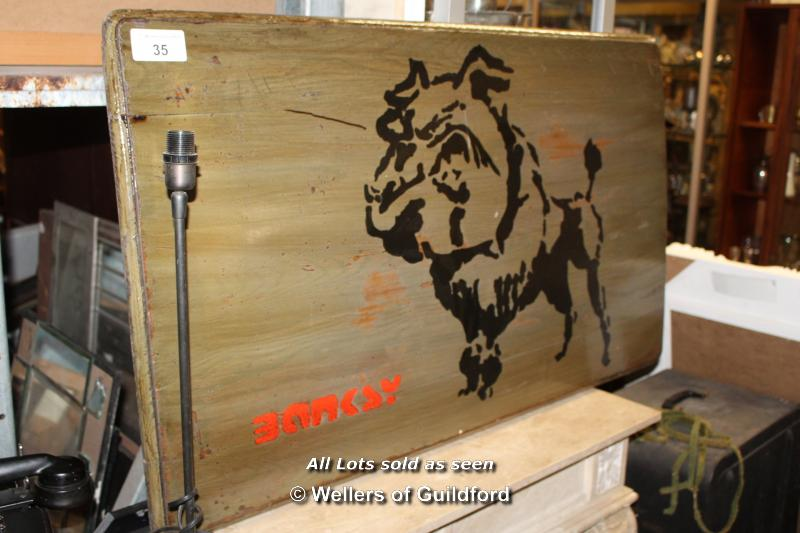 Lot 35 - REPRODUCTION BANKSY PAINTED TABLE TOP