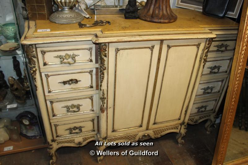 Lot 119 - PAINTED FRENCH STYLE MARBLE TOP ORNATE SIDEBOARD WITH A SET OF EIGHT DRAWERS, FOUR OF WHICH ARE
