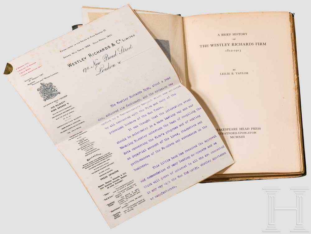 """Lot 6 - Leslie B. Taylor, """"A Brief History of the Westley Richards Firm 1812-1913"""" Stratford-Upon-Avon,"""