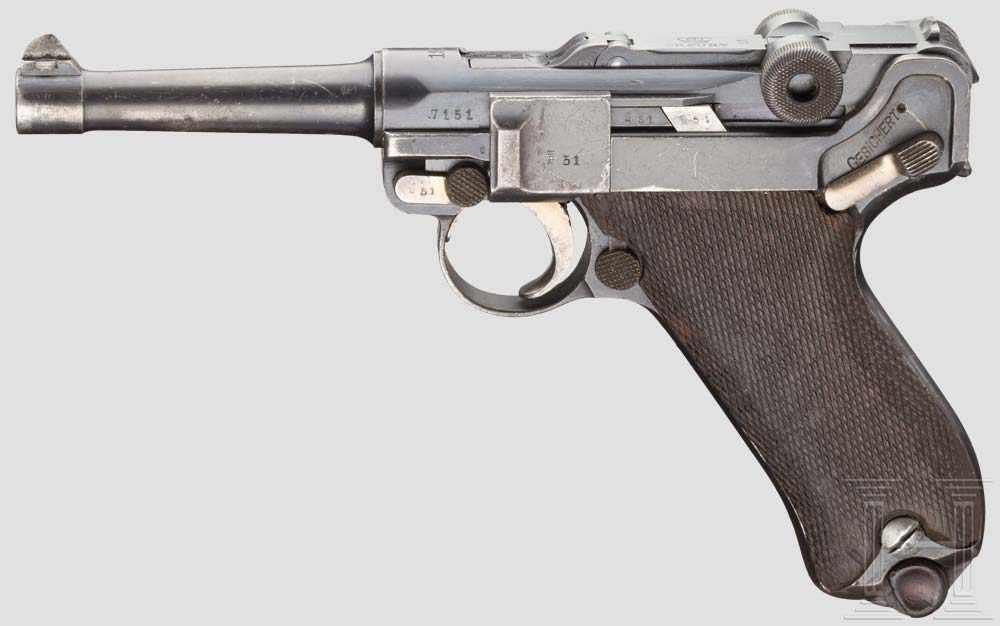 Pistole 08, Erfurt 1913 Kal  9 mm Luger, Nr  7151