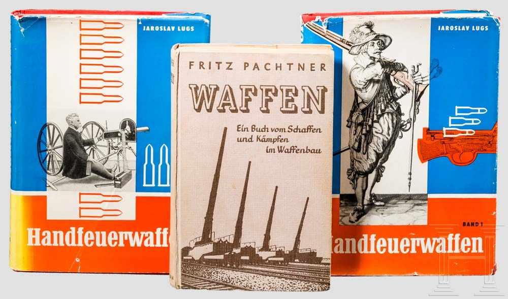 """Lot 8 - Jaroslav Lugs, """"Handfeuerwaffen"""", dazu ein Band zum Waffenbau Band 1 und 2, Deutscher"""