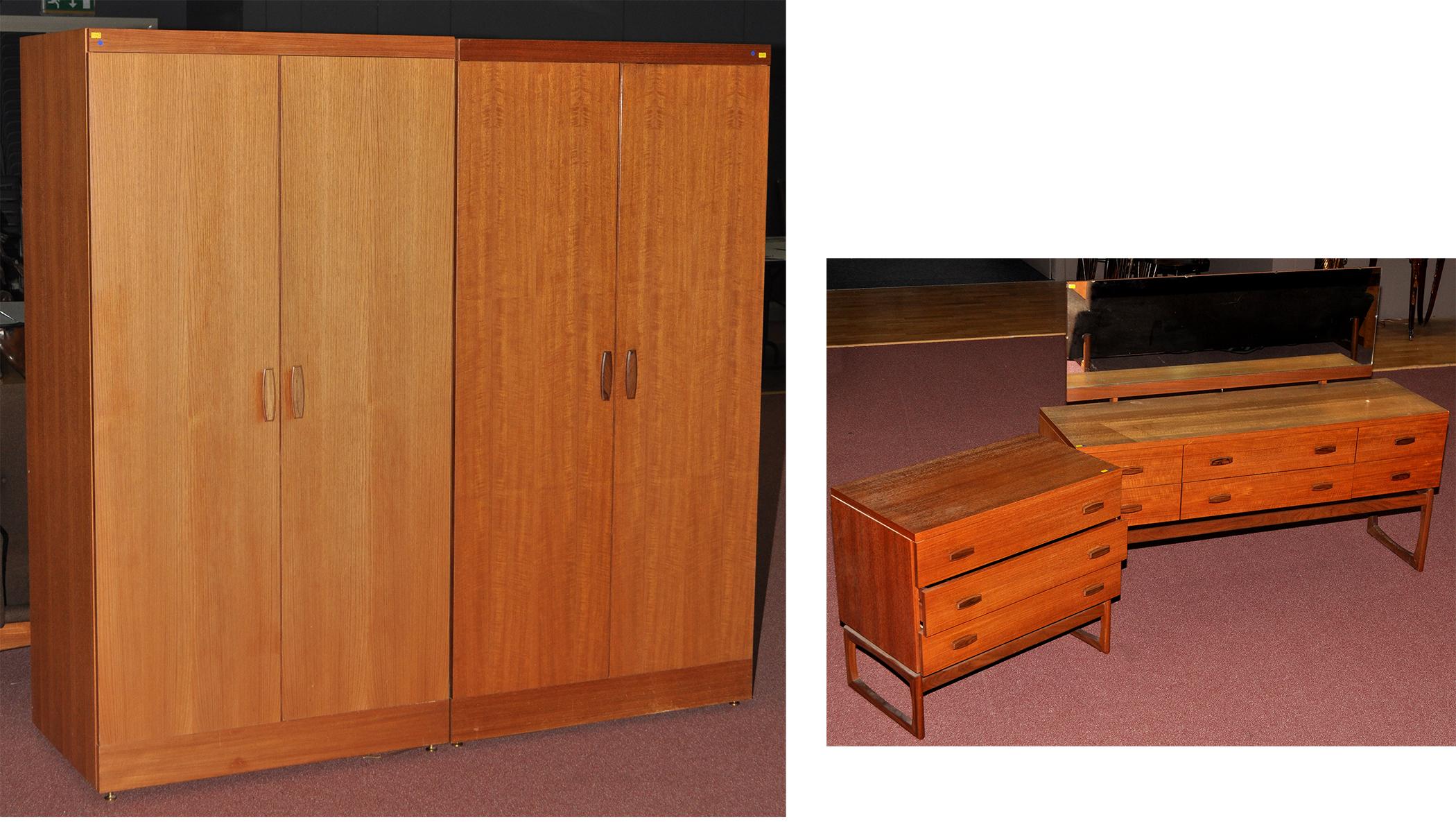 E gomme g plan a teak four piece 39 quadrille 39 pattern for G plan bedroom suite