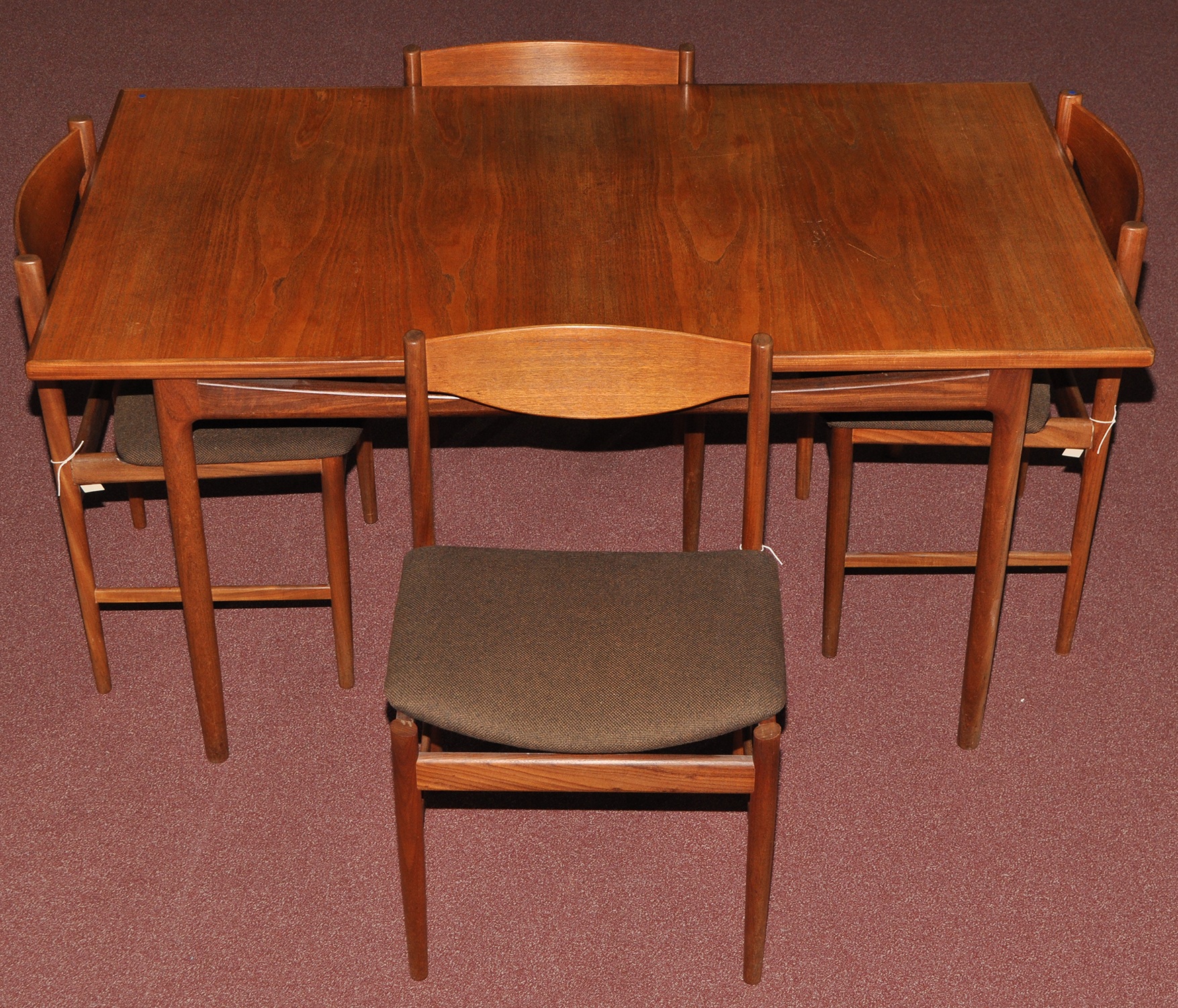 Lot 75 A Teak Extending Dining Table And Four Chairs Probably G
