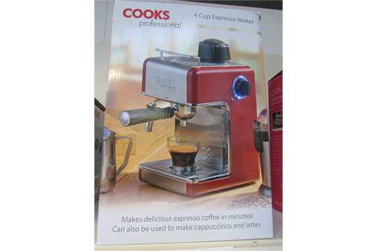Cooks Professional Coffee Maker Red : Cooks Professional 4 Cup Espresso Maker